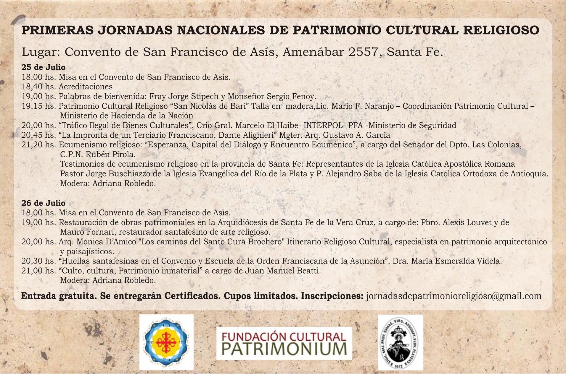 JORNADAS NACIONALES DE PATRIMONIO RELIGIOSO EN EL CONVENTO SAN FRANCISCO DE ASIS.